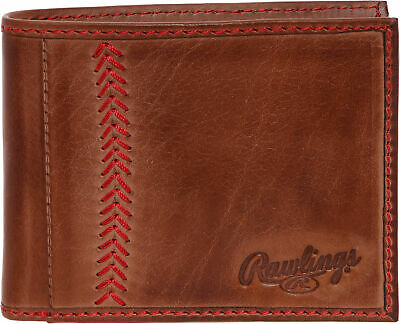 Rawlings Mens Tanned-leather Baseball Stitch Embroidered Wallet - Light Brown