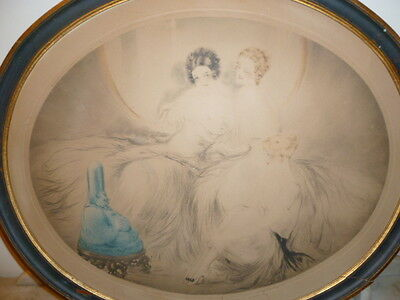Original Art Deco Period etching by LOUIS ICART entitled OLD YARN circa 1924