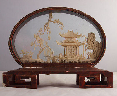Vintage Chinese Carved Cork Sculpture Diorama In Display Case
