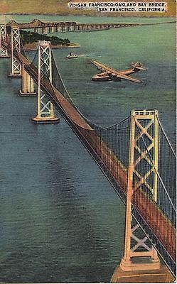 Vintage 1930s Postcard of New SF Bay Bridge with Pan Am Clipper Overhead
