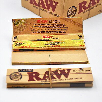 2 x RAW CONNOISSEUR CLASSIC KING SIZE SLIM PLUS TIPS UNREFINED ROLLING PAPERS