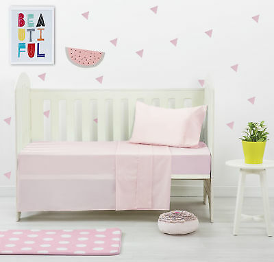 NEW Pink Dreamaker Baby Egyptian Cotton Plain Dyed Cot Sheet Set