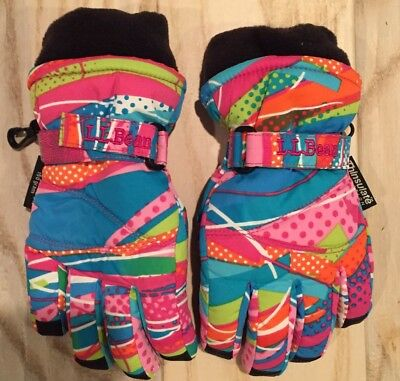 LL Bean Girls Pink/Multi Winter Gloves With Thinsulate, Waterproof, Size XS, EUC