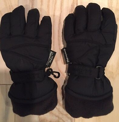 LL Bean Boys Black Winter Gloves With Thinsulate, Waterproof, Size XS, EUC