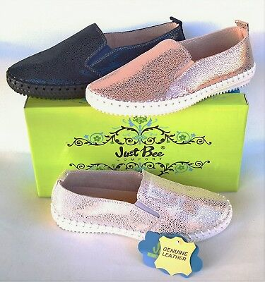 Leather slip on comfort flats Just Bee Shoes Coble