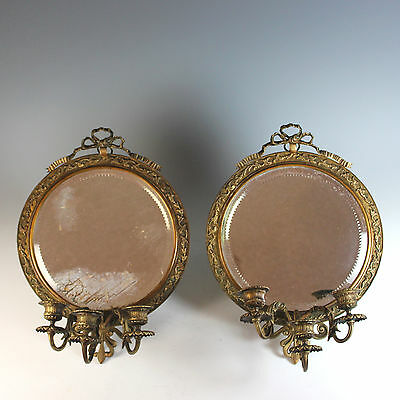 Pair of Antique French Bronze Candle Sconces, Girandoles