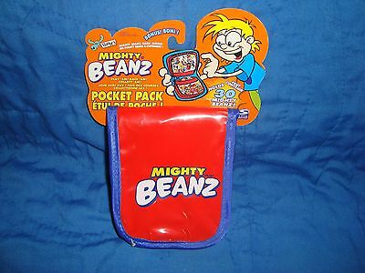Mighty Beanz Beans Red & Blue Pocket Pack Travel Case 2002 moose