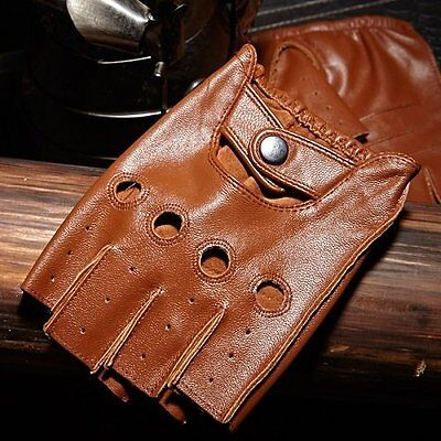 Men Fingerless Leather Cycling Bicycle Motorcycle Half Finger Gloves Riding US