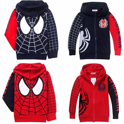 Boys Kids Spiderman Zip Up Sweatshirt Hooded Hoodies Jacket Coat Outfits 1-9Year