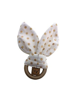 Gold Dots Wooden Teething Ring / Bunny Ears