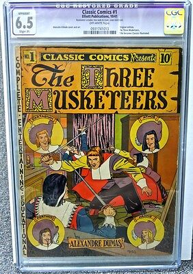 1941 Classic Comics #1 Cgc 6.5 Fn+ Original 1St Edition The Three Musketeers