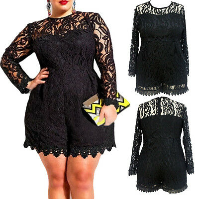 6XL Plus Size High O Neck Long Sleeve Lace Romper Girl Women Short Jumpsuits