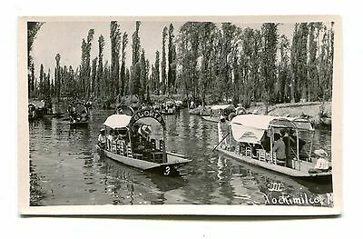 Vintage Postcard RPPC XOCHIMILCO Mexico decorated boats sailing on river