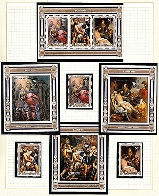 Penrhyn 1981 Easter Van Dick Paintings Set of 3 + 4 Minisheets MNH