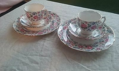 """Crown"" Fine Bone China Staffordshire England 2 Plates 2 Cups 2 Saucers"