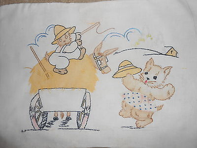 ANTIQUE~CHILD SIZE PILLOWCASE~MUSLIN EMBROIDERED~CAT w/WHIP~HAY WAGON~GIRL CAT