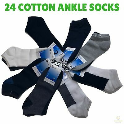 24x COTTON ANKLE SOCKS Sport Low Cut Mens Womens Running New BULK Anklet New