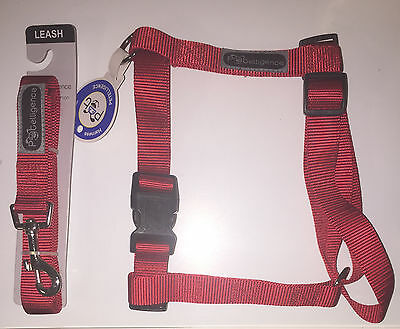 New Lot Of 10 Nylon Harnesses & 10 Matching Leashes Size Large Color Red