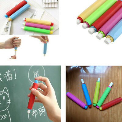 Thboxs01 5Pcs Colorful Dust Free Chalk Sleeve Teachers Teaching Hand Chalk Clip