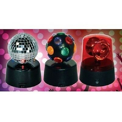 LED Mini Party Lights 12cm Set of 3 Battery Mirror Party Siren Rotating Disco