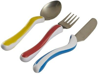 Childrens Large Handle Easy Grip Cutlery Knife Fork Spoon Set Disability Aid New