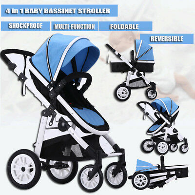 4 in 1 Baby Kids Toddler Pram Stroller Buggy Jogger With Bassinet Pushchair