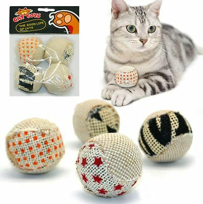 Cat Toy 4 Balls Pack Interactive Pet Play Teaser Rattle Sound Scratching Squeak