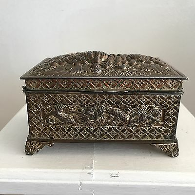 Antique Oriental Fine Detailed Box - Dragons - Mixture Of Metals