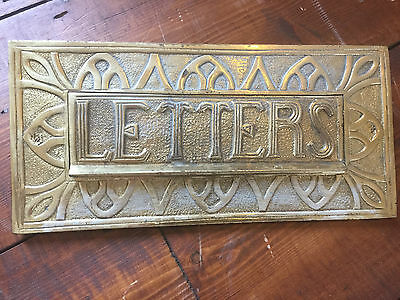 Vintage Reclaimed Ornate Solid Brass Letter Box Plate / Door Mail Slot / Knocker