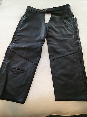Harley Davidson Willie G Black Leather Chaps-Xxxl-Nwot-Been In Closet-Great