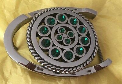 VINTAGE Mint Condition **STAINLESS STEEL HORSESHOE & GREEN CRYSTALS* Belt Buckle