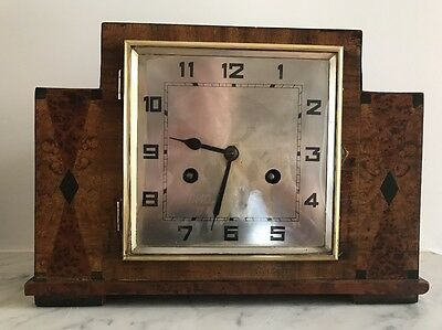 Gorgeous Antique Walnut Art Deco Chiming Mantle Clock With Lever Escapement