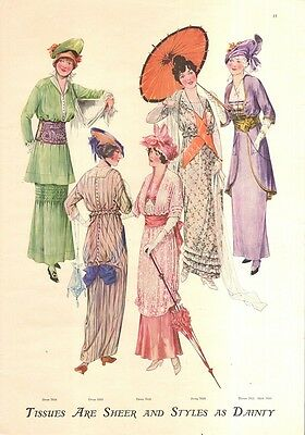 1914 Ladies Fashion Print Ads- Tissues Are Sheer And Styles As Dainty Patterns