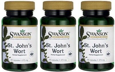 3X St John's Wort 375 mg 60 ( 180 ) Capsules UK STOCK - 24HR DISPATCH