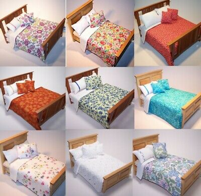 "Dolls House Bedding Set -1/12 Handmade-Large 5.5""-6.5"" Wide Bed size-13 patterns"