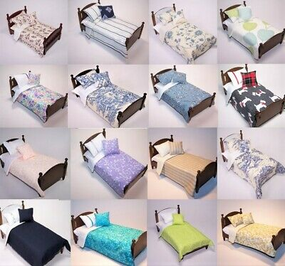 Dolls House Bedding Set -1/12 Handmade - Single Bed size -17 patterns -7/11/18