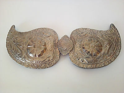 Antique silver plated belt buckle 18th century, traditional handcrafted