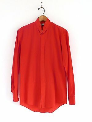 Vtg 70s 80s Monte Carlo Red Pleated Button Up Mod Dapper Tuxedo Dress Shirt S
