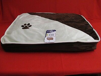 Small Pet Bed / Cushion, Brown & White, Paw Motif, Cat / Small Dog - 48cm x 38cm