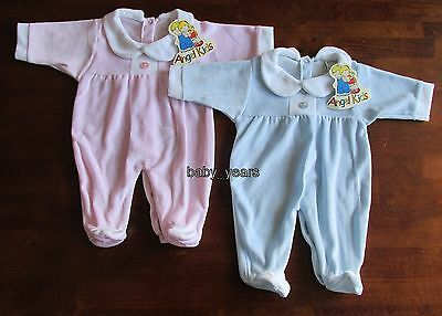 Baby Soft Velour Sleepsuit All In One Babygro Pink Blue Boys Girls Clothing New