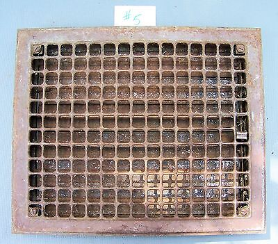 """Vintage CAST IRON Wall  Floor Register Grate Vent 17"""" x 14 with louvres ******#5"""