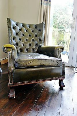 Antique High Backed Buttoned Fireside Chair Unique