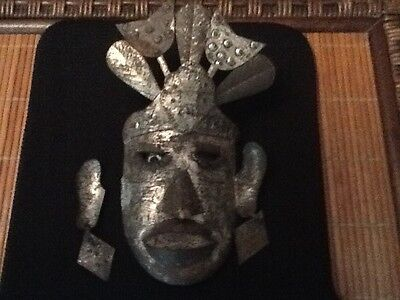 vintage mexican tin mask 7 1/2 high 5 inches wide