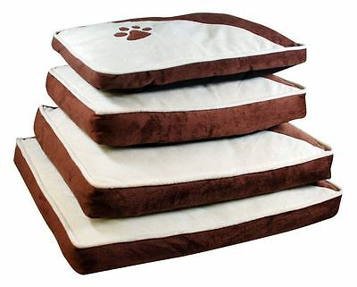Pet Bed / Cushion, Brown & White, Paw Motif, Zip Cover, Cat or Dog - S, M, L, XL