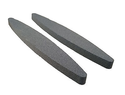 "2 x Oval Flat Boat Shaped 9"" Sharpening Stone Scythe Scissor Blade Axe Sharpener"
