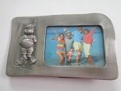 "Images Pewter Scuba Diver Frame Holds 3.5"" x 2.5"" Picture Easel Back NWOT"