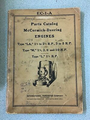 1938 McCormick Deering engines parts catalog LA 1 1/2 hp International Harvester