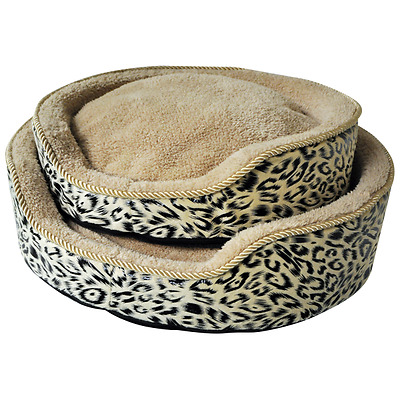 2 x Pet Bed / Basket, Cat / Dog / Puppy - Soft Fleece Basket with Luxury Cushion