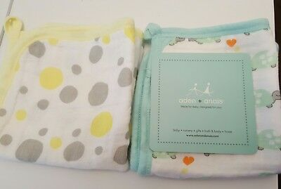 ADEN AND ANAIS Citrus Lane Exclusive 2 Pack Washcloth Set (Turtle/Yellow Dots)