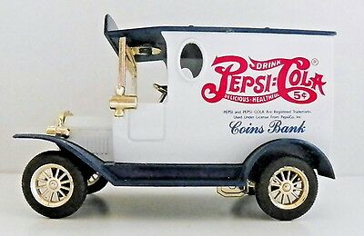 PEPSI:COLA COIN BANK - DIE CAST FORD MODEL T TRUCK STYLE w/KEY